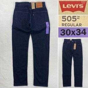 NWT LEVIS 505 Regular Straight Stretch Men's Size 30 x 34 Dark Wash Jeans